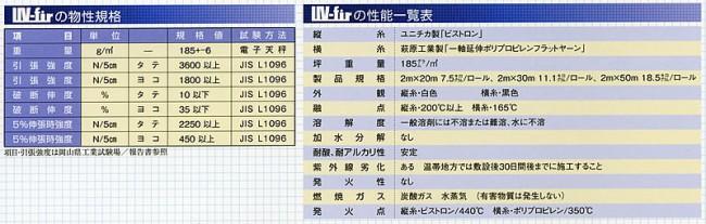 UV-firの物性企画 / UV-firの性能一覧表